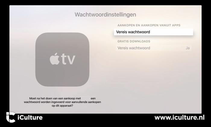Aankopen op Apple TV wachtwoord nodig