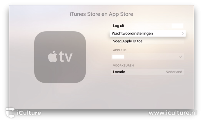 Apple TV accounts wachtwoordinstellingen