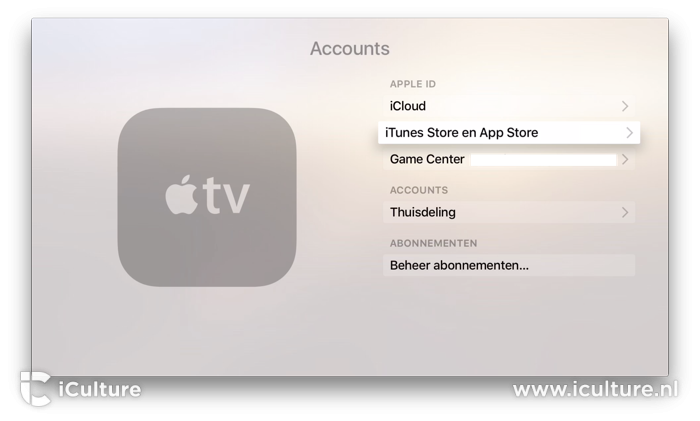 Apple TV iTunes en App Store account instellen