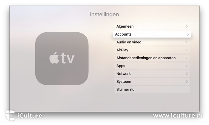 Apple TV accounts instellen