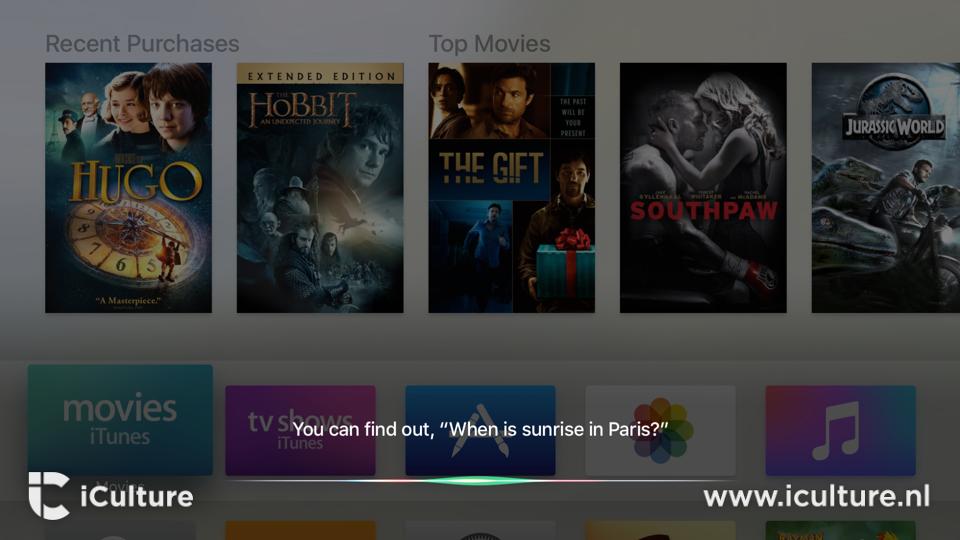 Siri gebruiken op de nieuwe Apple TV.