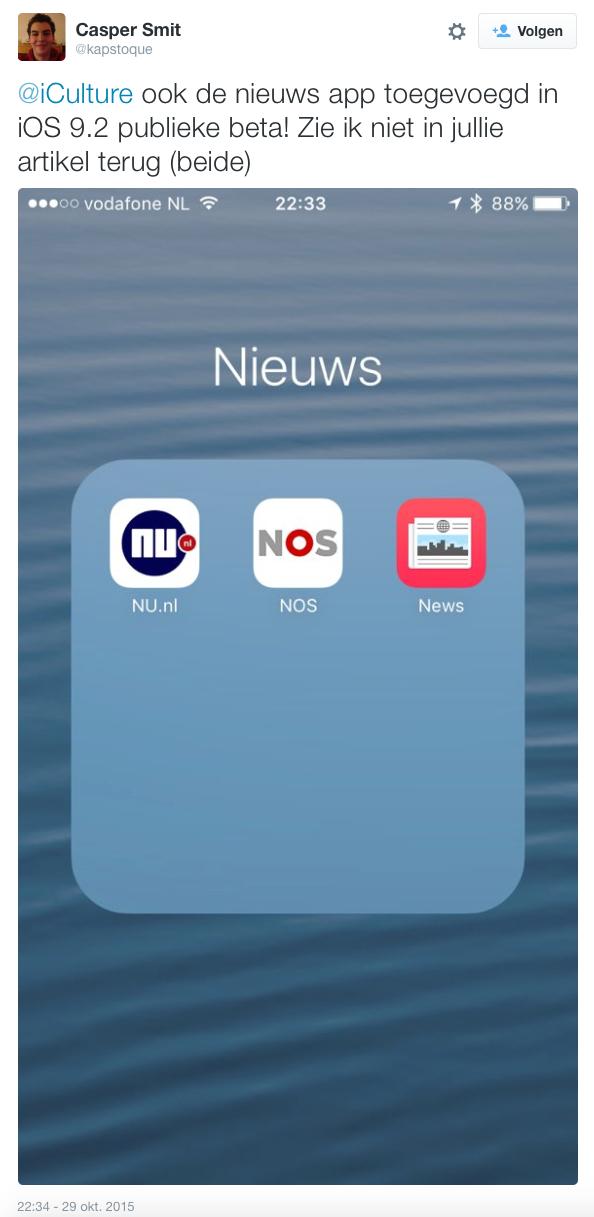 Apple  News in de beta van iOS 9.2.