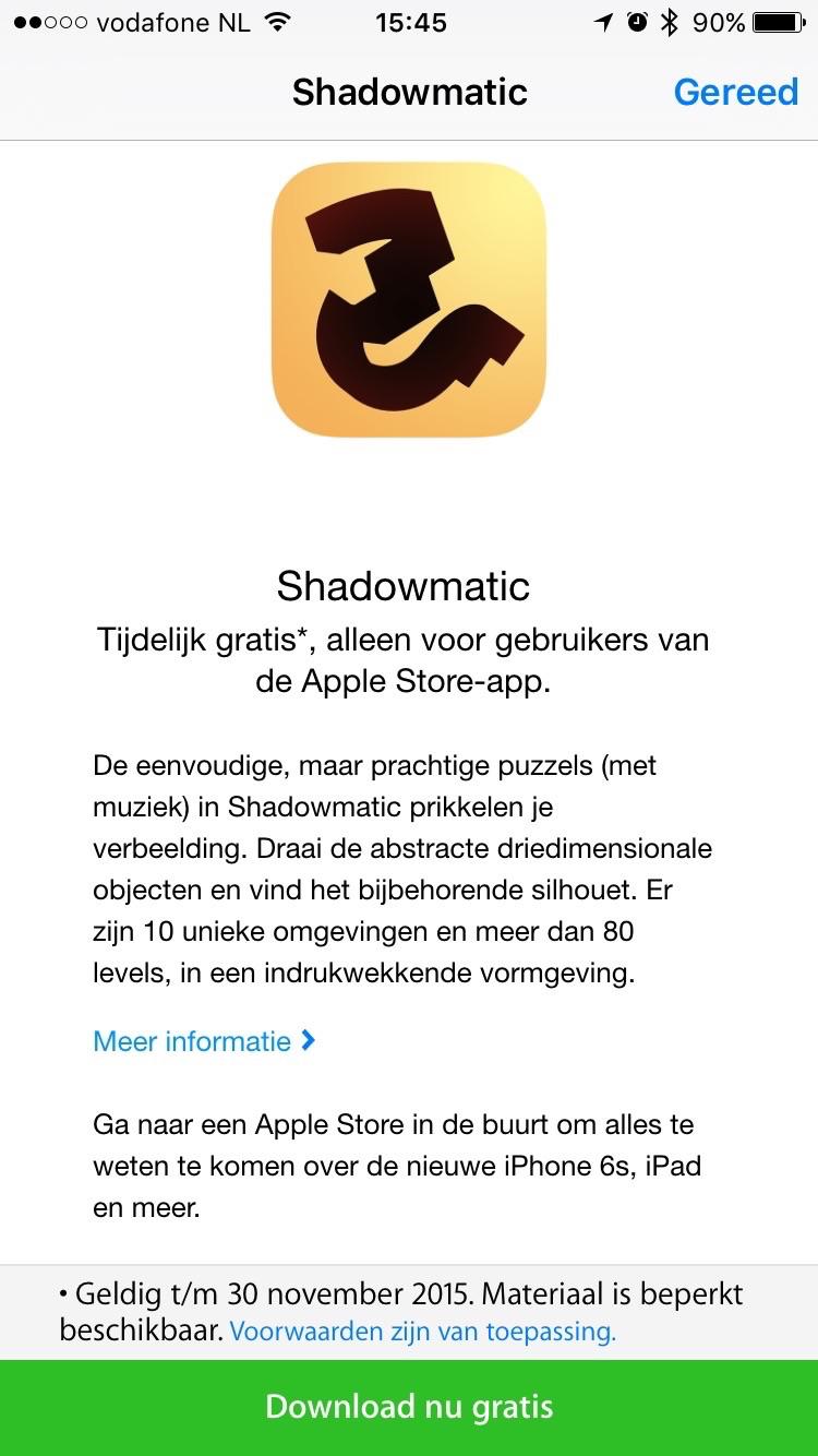 Shadowmatic downloaden vanuit de Apple Store-app.