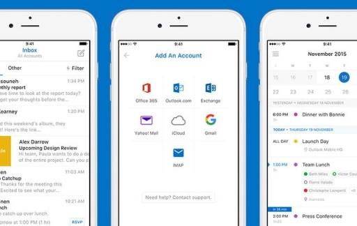 Outlook voor iOS met een verbeterd design.