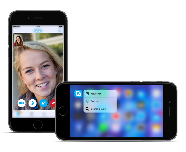 Skype heeft 3D Touch en Peek en Pop.