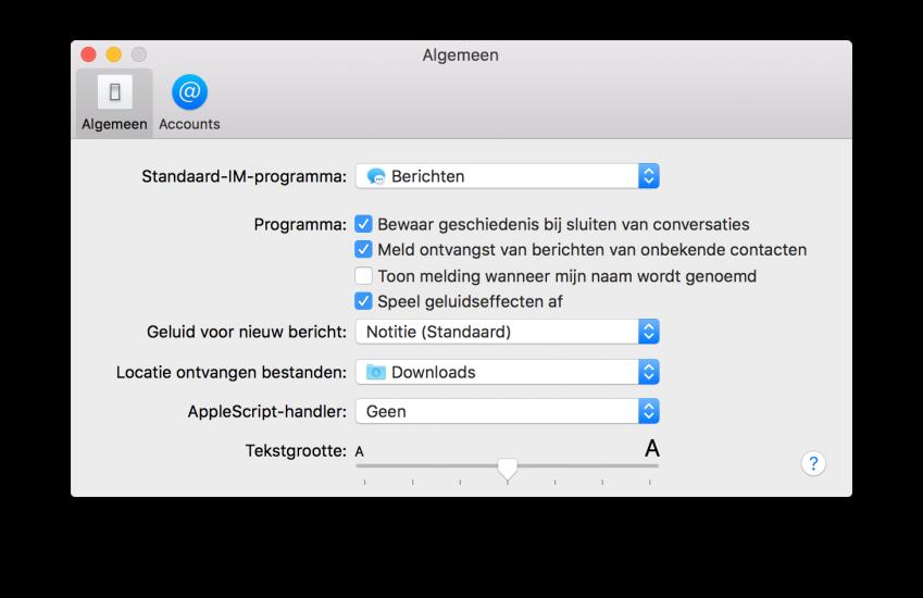 Voorkeuren voor instellingen van Berichten op de Mac.