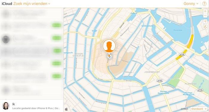 Zoek mijn vrienden via iCloud.comZoek mijn vrienden via iCloud.com