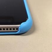 Versleten blauwe siliconen hoes iPhone 6 Plus.