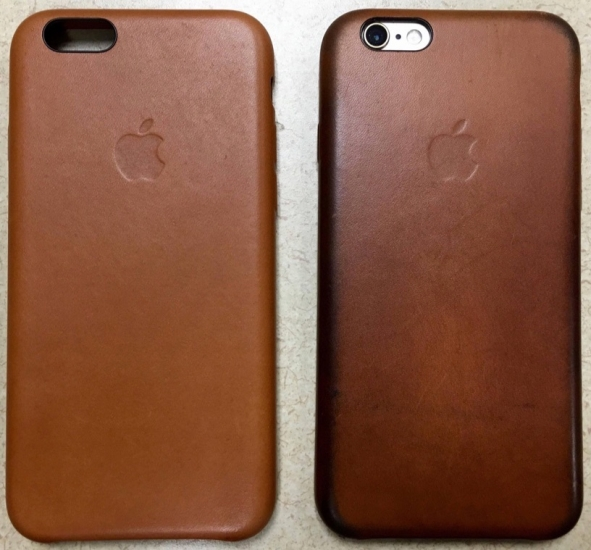 Verkleurde bruine leren hoes voor iPhone 6.