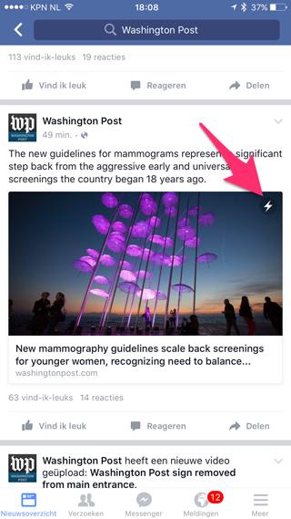 Facebook Instant Articles: let op de bliksemschicht