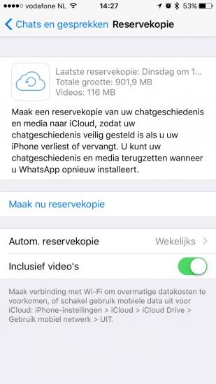 WhatsApp back-up in iCloud Drive.