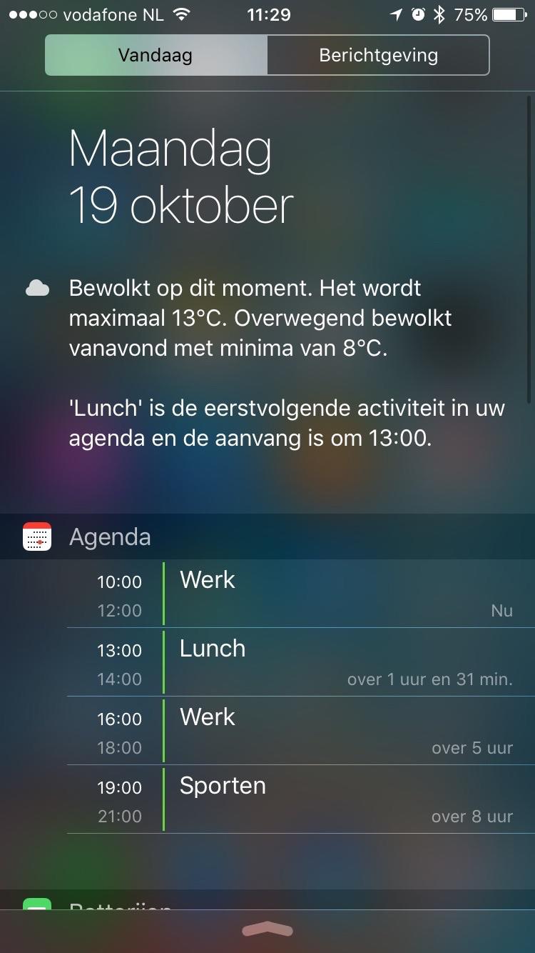 Agenda-widget met lijstweergave.