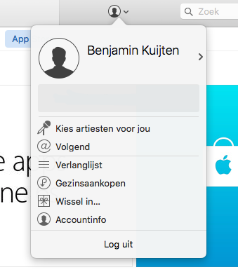 Uitloggen in iTunes.