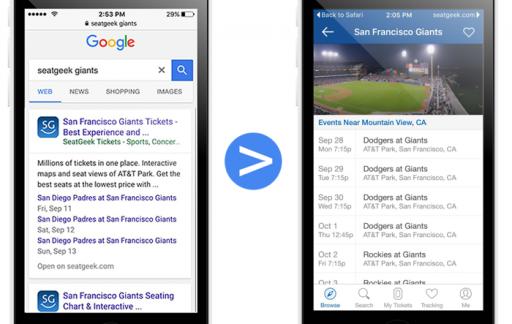 App indexing bij sportkaartjes