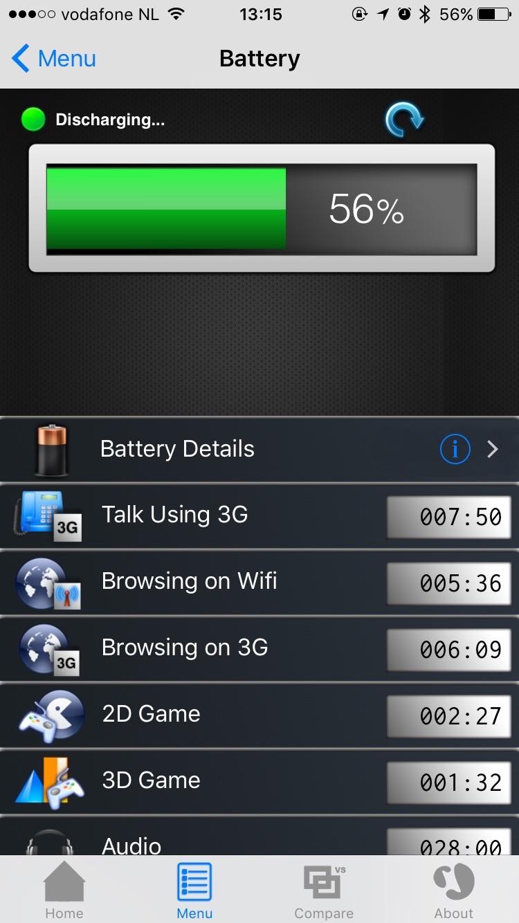 Bekijk het batterijvermogen in Lirum.