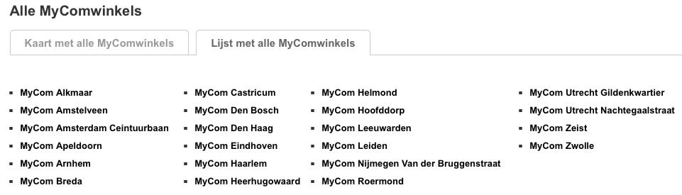 MyCom winkels oktober 2015