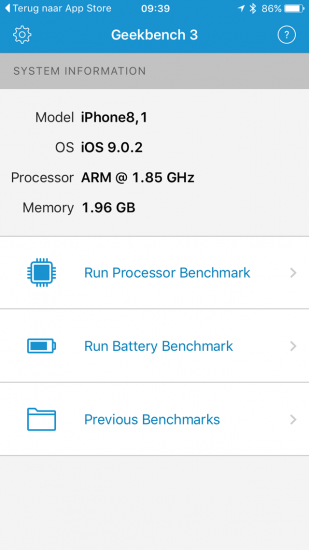 Geekbench test iPhone 6s toont 2GB RAM