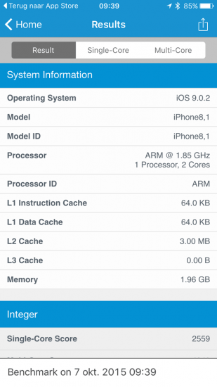 Geekbench iPhone 6s hardware