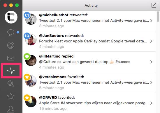 Tweetbot voor Mac Activity-weergave