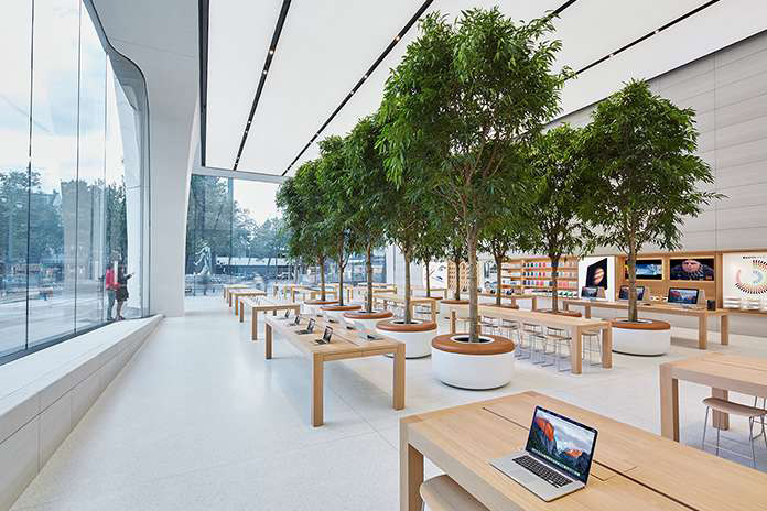 Apple Store Brussel, bomen in de winkel
