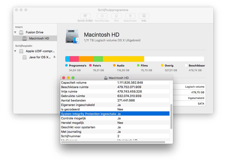 Schijfhulpprogramma op de Mac