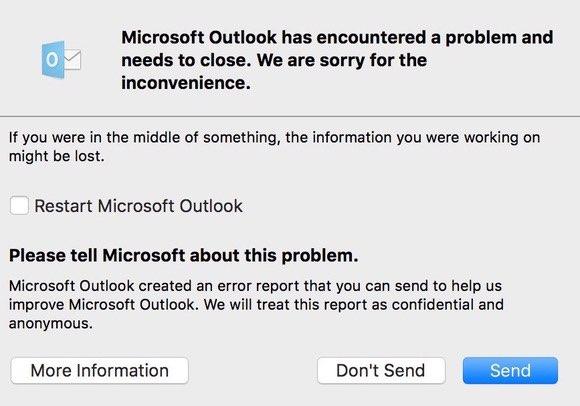 Office 2016 crash