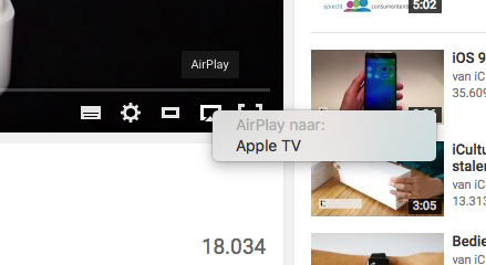 Stuur een YouTube-video door naar een Apple TV via AirPlay.