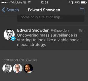Tweetbot 4 met gezamenlijke vrienden of volgers.