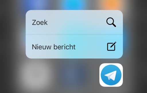 Telegram 3D Touch op iPhone 6s.