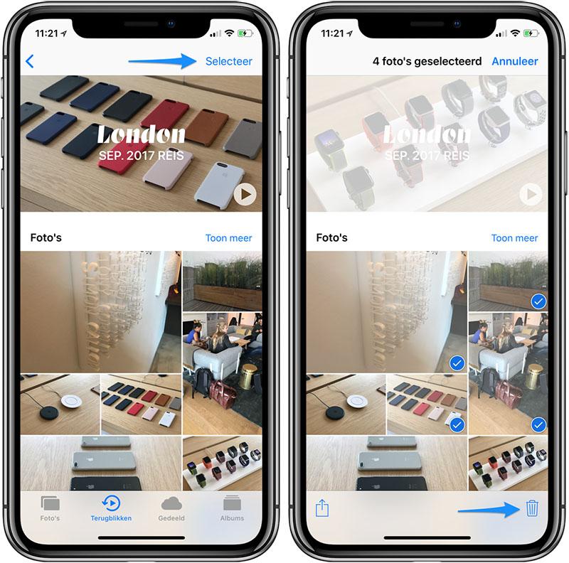Foto's selecteren en verwijderen