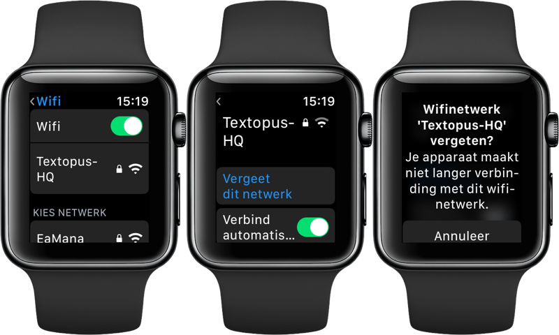 Wi-Fi netwerken met Apple Watch verbreken