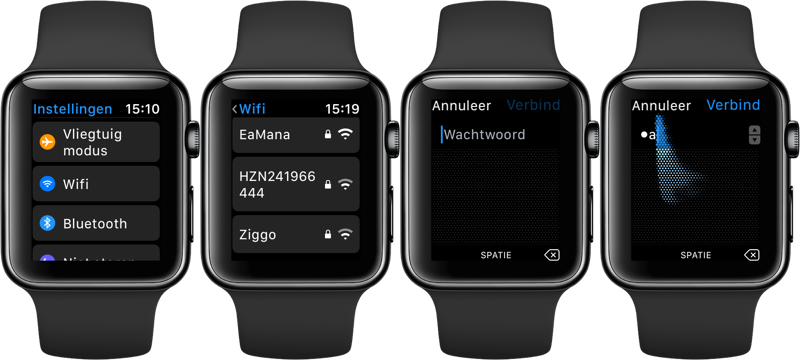 Wi-Fi netwerken met Apple Watch verbinden
