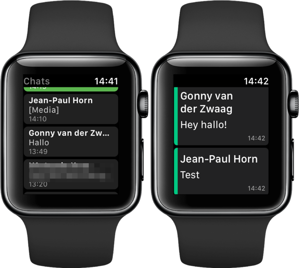 WatchChat en WatchUp op de Apple Watch.