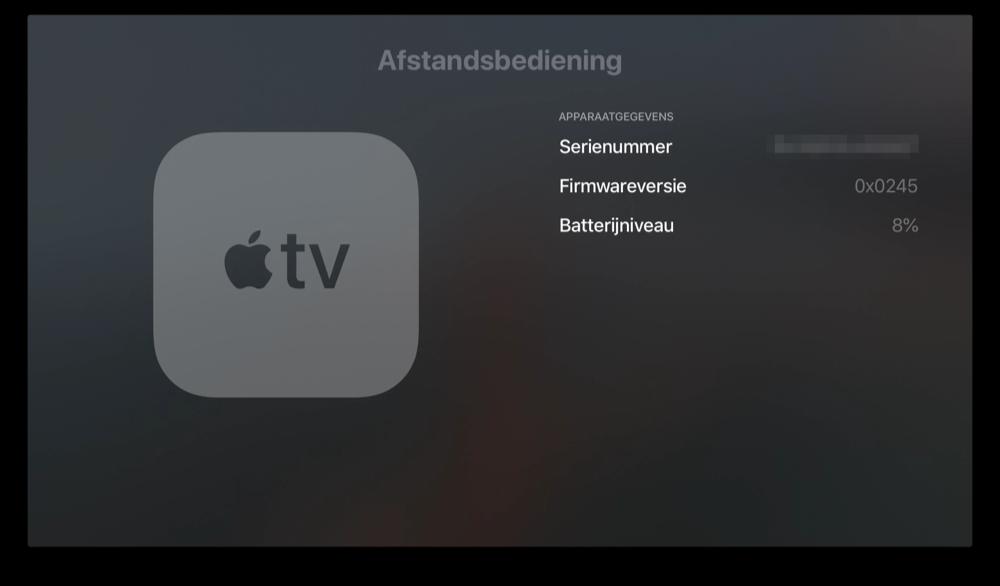 Apple TV Siri Remote batterijpercentage bekijken.
