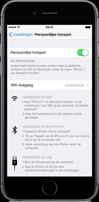 Persoonlijke hotspot op de iPhone.