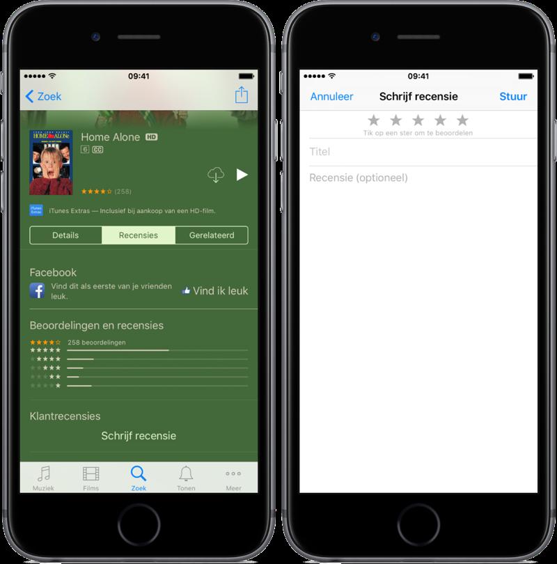 Recensie geven voor films in de iTunes Store-app op de iPhone.