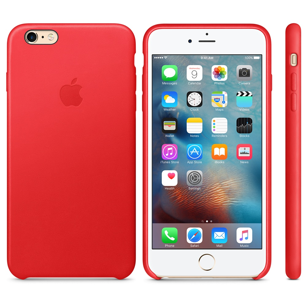 iPhone 6s leren hoes in Product RED.