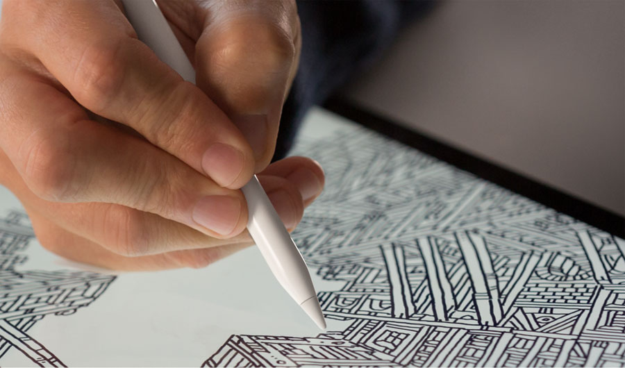 Apple Pencil met iPad Pro-tekening
