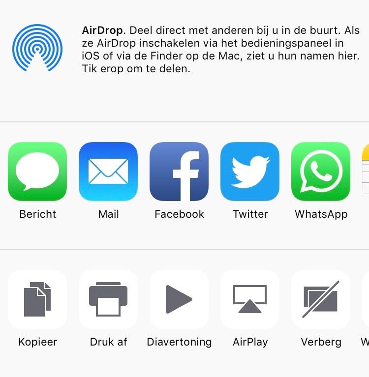 AirPlay en diavertoning starten op de iPhone.