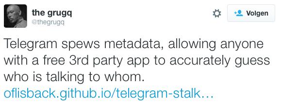 The Grugq tweet over beveiliging Telegram