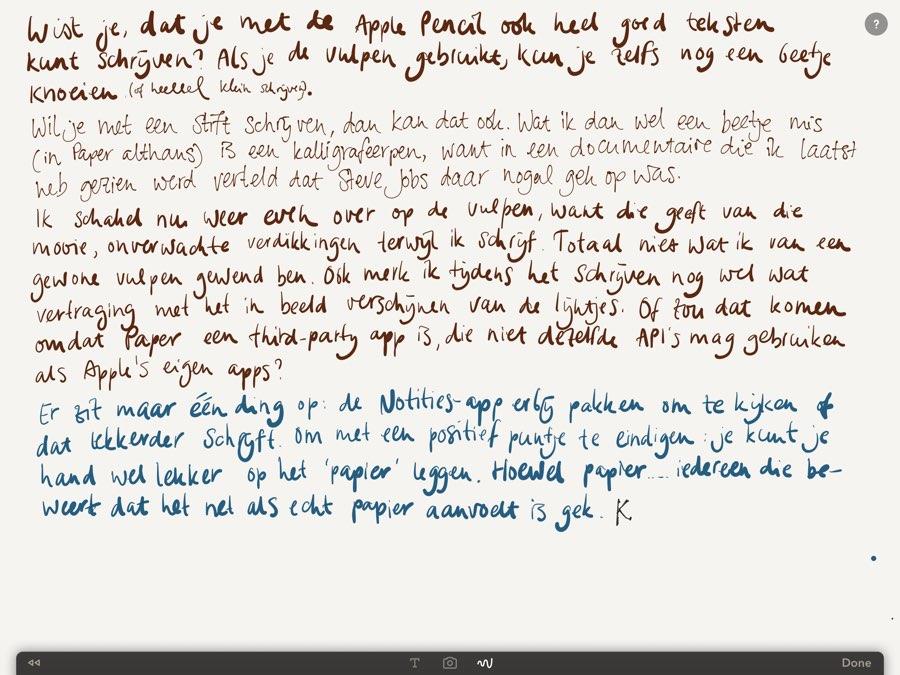 Apple Pencil review: handgeschreven notitie, ook daar is de Apple Pencil geschikt voor