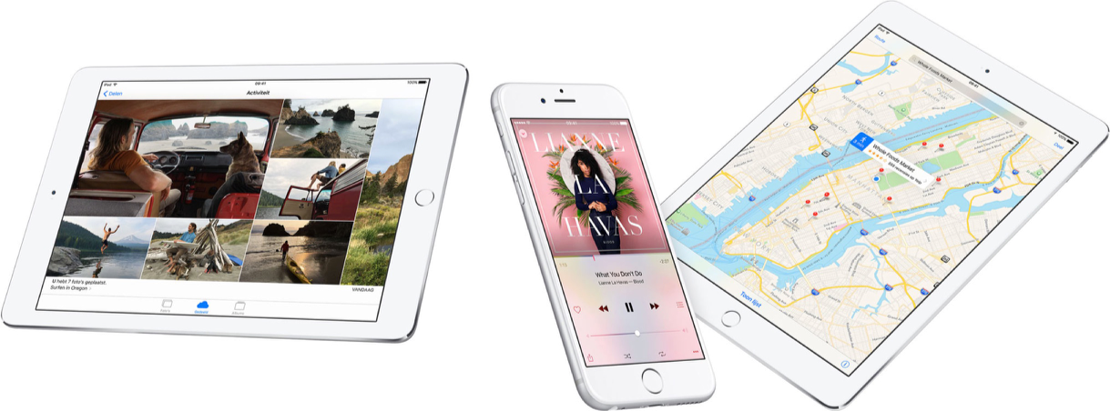 iOS 9 met iPads en iPhone.