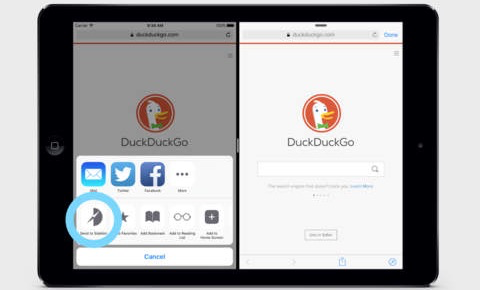 Sidefari toont een tweede Safari-scherm in Split View op de iPad.