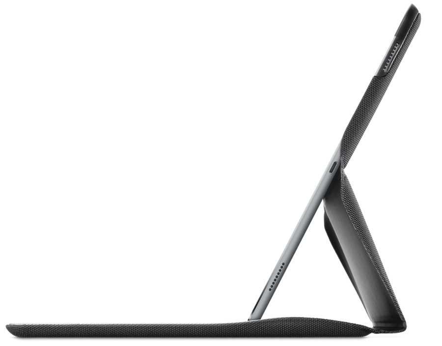 iPad Pro in de Logi Create, van de zijkant gezien