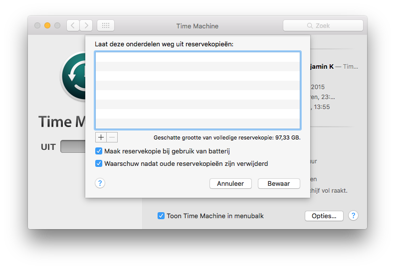 Time Machine voor de Mac.