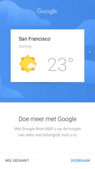 Google Now-weerinformatie.