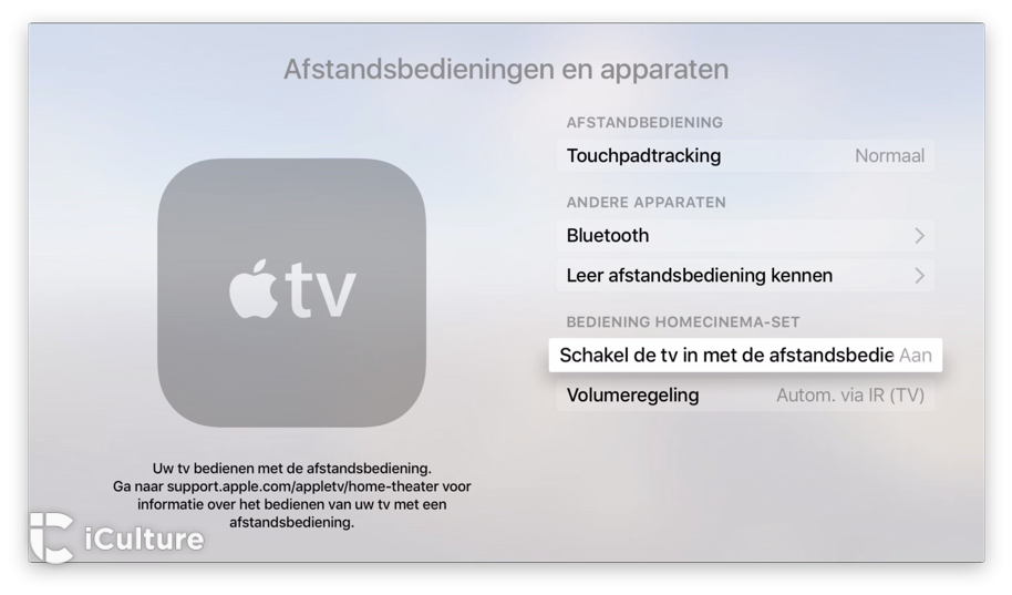 Apple TV televisiebediening.