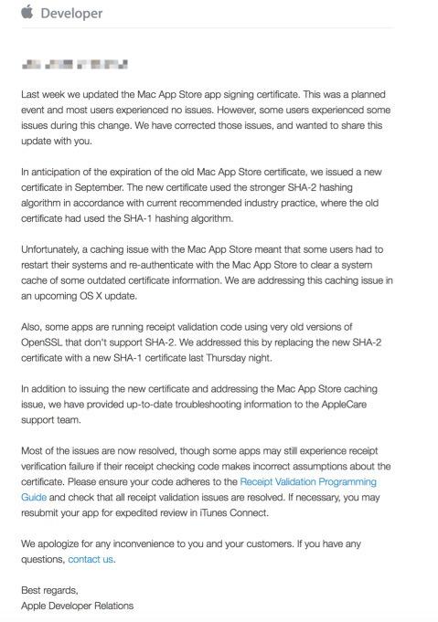 Mail aan ontwikkelaars over Mac-appproblemen