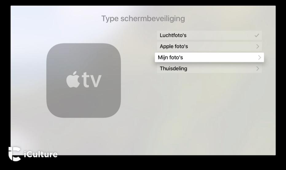 Stel je foto's in als screensaver op de Apple TV.