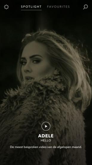 Vevo-app met Adele.